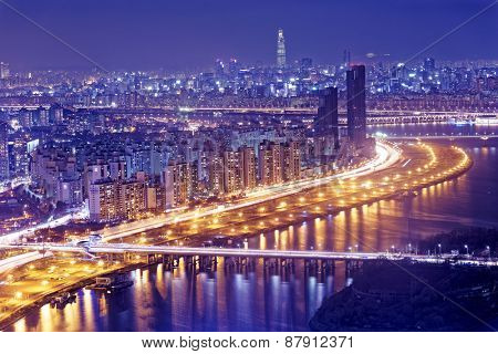 Seoul Tower and Downtown skyline at night, South Korea