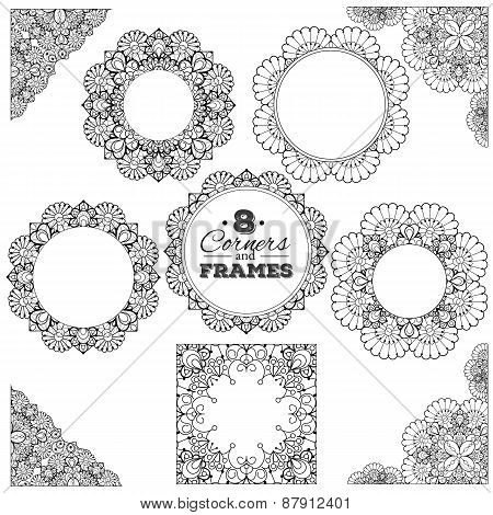 Set of lace frames and corners with transparent background
