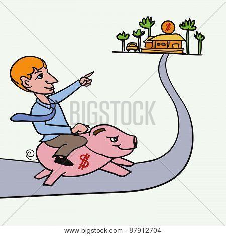 Man Riding Piggybank Heading To His Goal