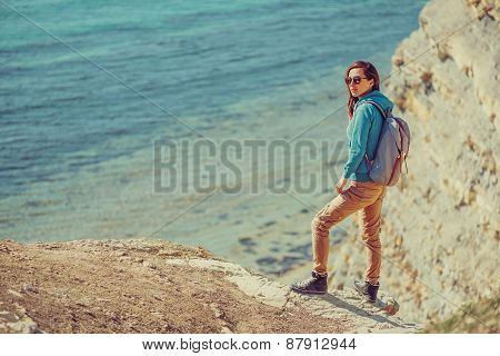 Traveler Girl Walking On Coast In Summer