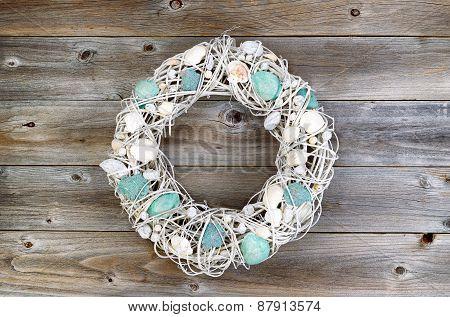 Shell Wreath On Aged Wood