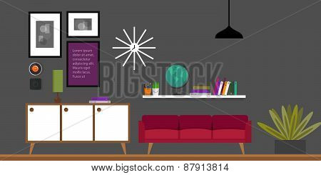 living room home interior vector illustration