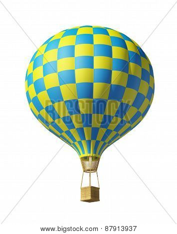 Isolated On White 3D Blue-yellow Balloon