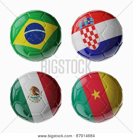 Football Worldcup 2014. Group A. Football/soccer Balls.