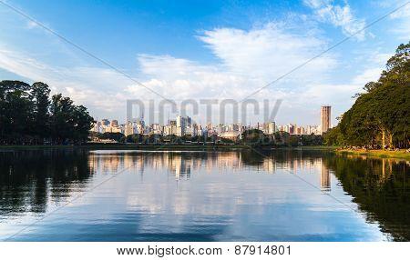 Sao Paulo skyline from the Ibirapuera Park, Brazil