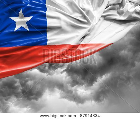 Chilean waving flag on a bad day