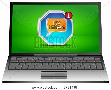 Laptop computer with new Message Button