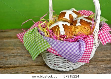 Easter hot cross buns in basket