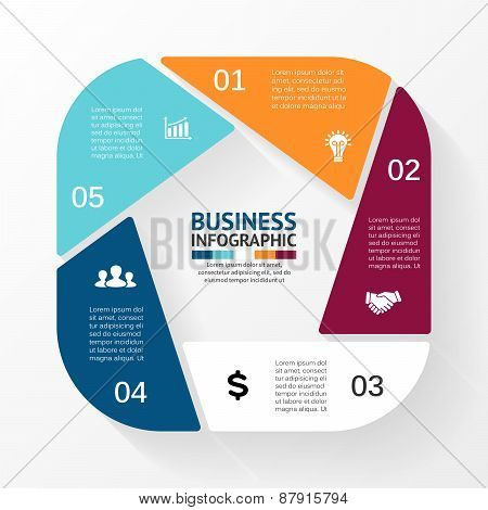 Vector pentagon infographic. Template for cycle diagram, graph, presentation and round chart. Busine