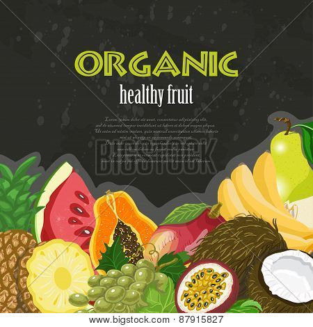 Organic Healthy Fruit Background. Healthy Diet Illustration On Dark Background