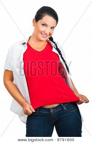 Beautiful Woman In Blank T-shirt And Jeans