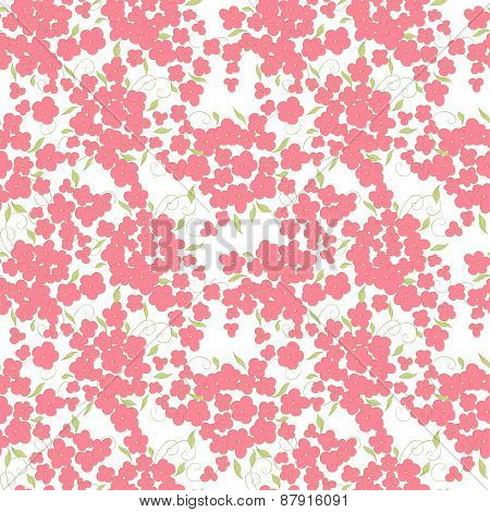 pink little flowers and leaves seamless pattern. summer vector background