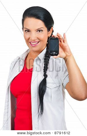 Attractive Woman Showing Phone Mobile