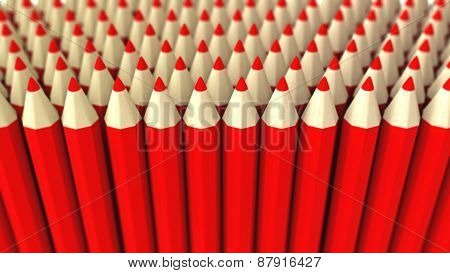 A Pile Of Red 3D Crayon On A White Background