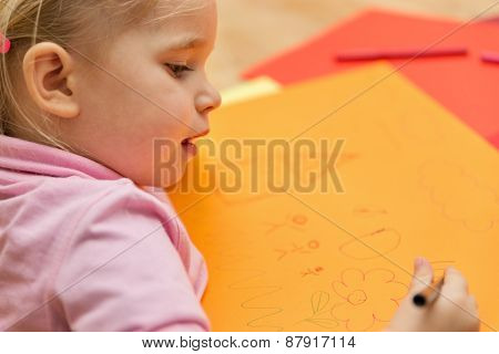 Cute Girl Is Painting A House And Her Family
