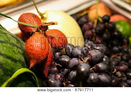 Art abstract market background fruits on a wooden background, Fruits on the market.