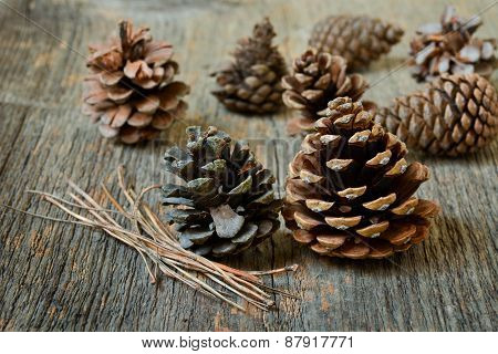 Isolated Fir Cones With Wooden Background