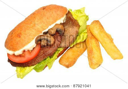 Steak Sandwich And Fries