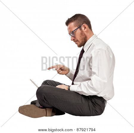 sit caucasian man with notebook
