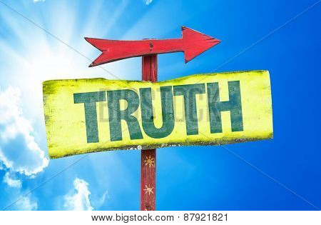 Truth sign with sky background