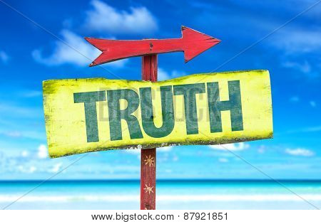 Truth sign with beach background
