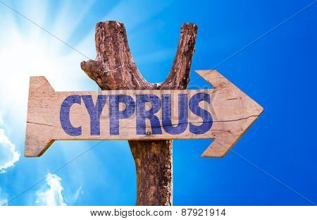 Cyprus wooden sign with sky background