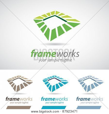 Abstract Square Frame Icon Vector Illustration