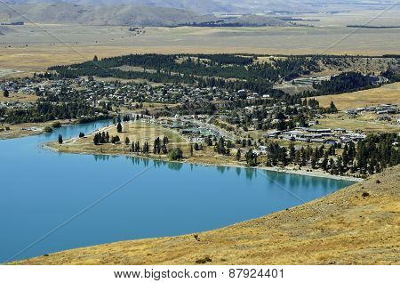Tekapo Lake And Village In Nz.