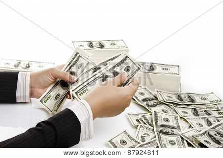 woman hand counting US dollar