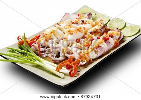 spicy fresh squid as Asian food