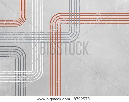 Grey abstract background with red lines - retro design