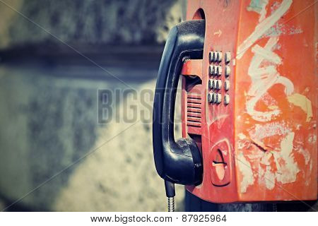 Old Payphone With A Retro Effect
