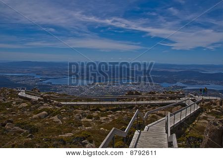 Mt Wellington Walkway and a view over Hobart