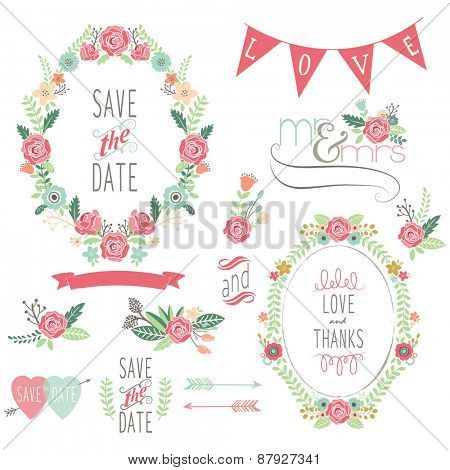 Wedding Rose Wreath Elements