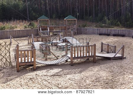 Playground With Sand Made Of Wood