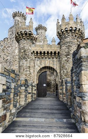 Home Or Main Entrance Of Templar Castle In Ponferrada, The Bierzo