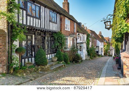 Tudor Houses On A Cobbled Street