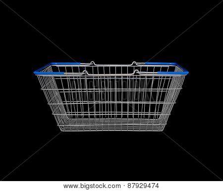 Empty shopping basket on black background