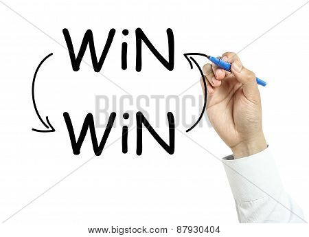 Businessman Drawing Win Win Concept
