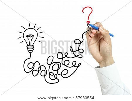 Businessman Drawing Question And Answer Concept