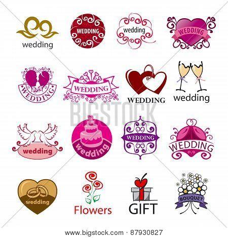 Big Set Of Vector Logos For Wedding