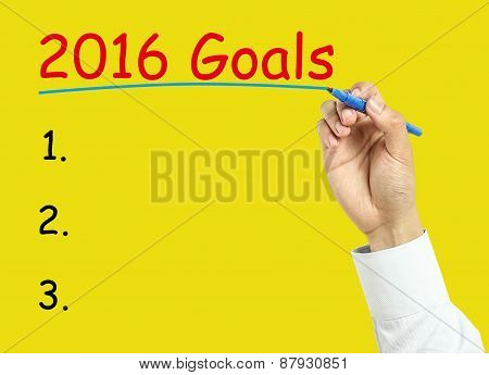 Businessman Hand Drawing 2016 Goals Concept