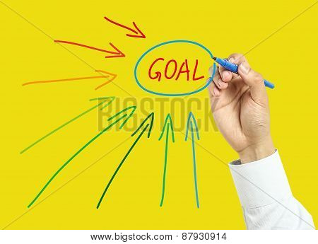 Businessman Hand Drawing Set Goal Concept