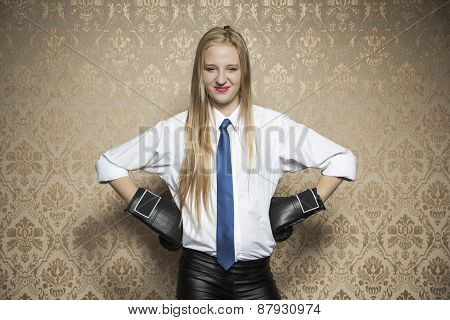 Smiling Business Woman With Boxing Gloves