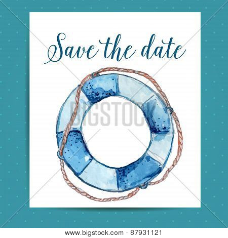 Save the date card layout for nautical wedding with life buoy. Vector template with watercolor art.