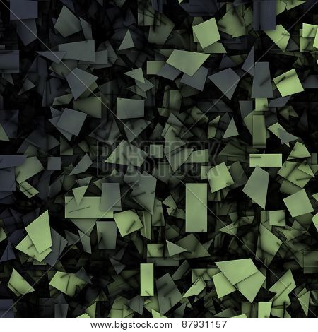 Gray Green 3D Abstract Fragmentation Geometric
