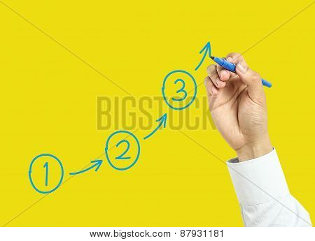 Businessman Hand Drawing Steps Concept
