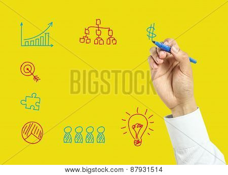 Businessman Hand Drawing Business Concept