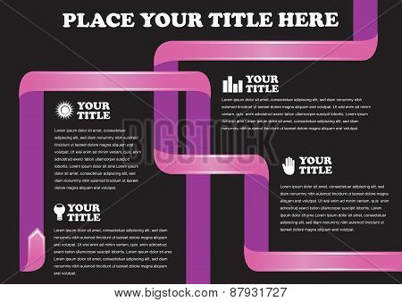 Hot Pink Ribbon On Black Background Vector Design For Page Layout
