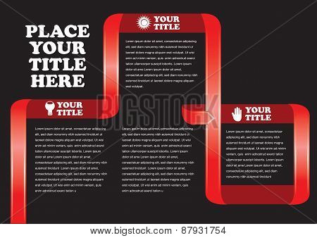 Red Ribbon Banner Page Layout Design